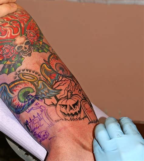 halloween sleeve tattoo designs beautiful color ink on arm