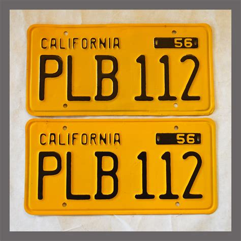 Vanity Plates For Sale by 1956 California Yom License Plates For Sale Restored