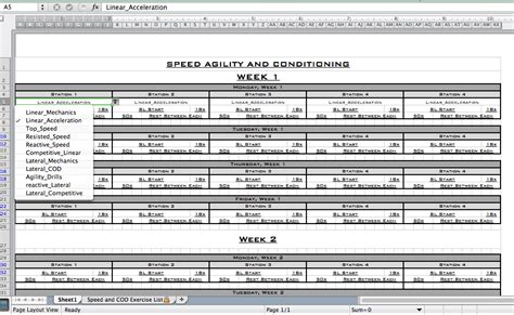 Miscellaneous Templates Excel Training Designs Speed And Agility Program Template