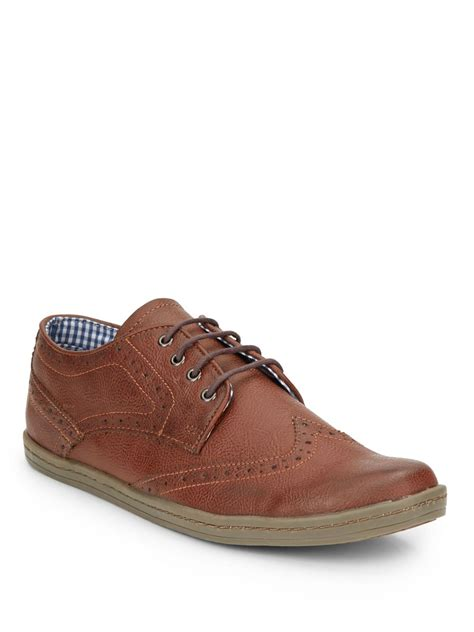 nick shoes ben sherman nick faux leather brogue sneakers in brown for