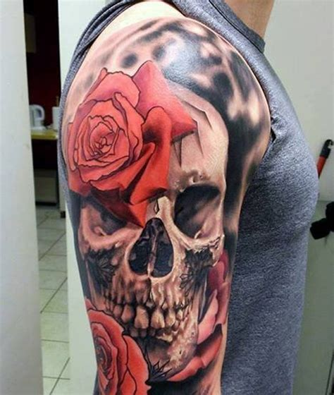 realistic skull tattoo 69 impressive skull shoulder tattoos