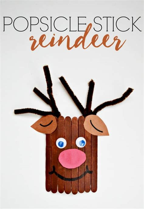 lollypop stick pictures xmas popsicle stick reindeer craft