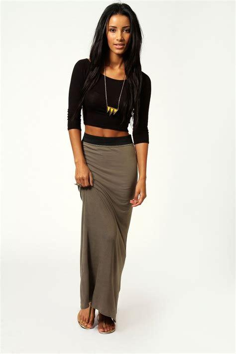 Maxi Jersey helena contrast waistband jersey maxi skirt