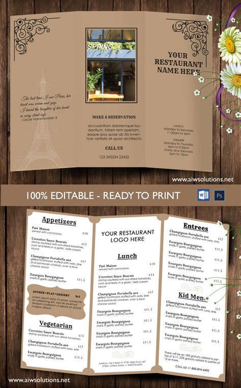ms word menu template design templates tri fold take out menu menu templates
