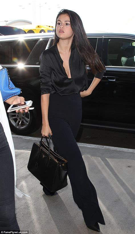 Selena Blouse By Wearing Klamby selena gomez dons plunging black silk blouse at lax