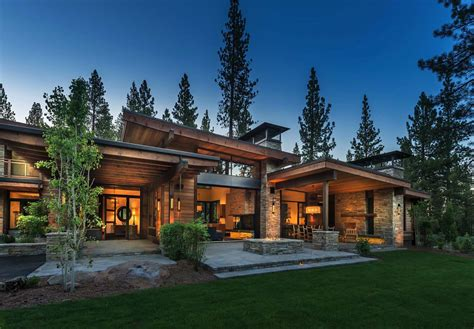 Cabin Plan by Mountain Modern Home In Martis Camp With Indoor Outdoor Living