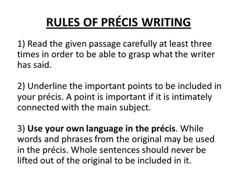 write precis paper