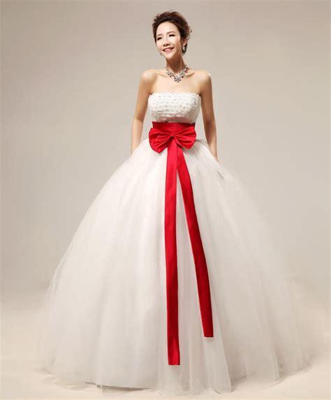 06hem Govinza sweet strapless sequined lace hem bowknot s floor length organza wedding dress