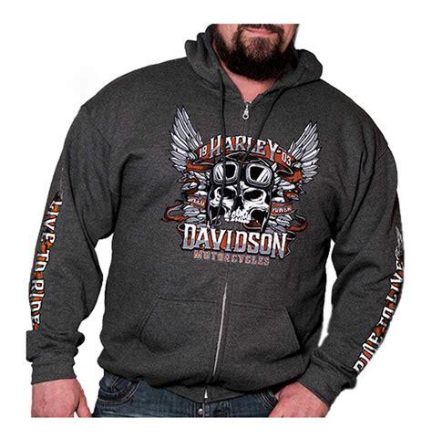 Hoodie Harley Davidson Abu harley davidson s valiant winged skull zip up hoodie gray ebay