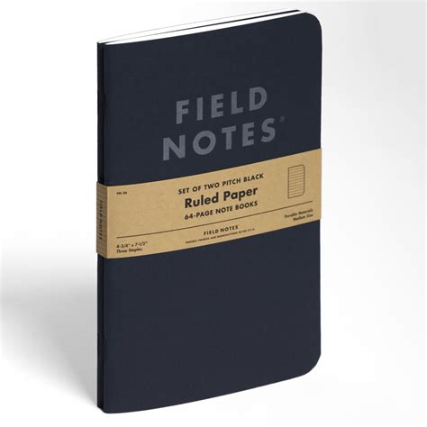 Memo Writing Books Field Notes Pitch Black Large 2 Pack Note Book Mukama