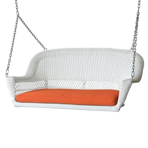 cushion swing jeco wicker porch swing in white with orange cushion