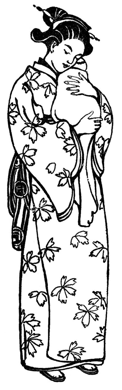vintage clip art japanese mother in kimono the