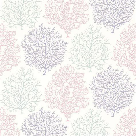 Elite Home Decor Sanderson Coral Reef Wallpaper Teal Mauve 213392
