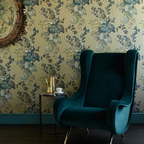 Teal Wallpaper For Living Room by Teal And Gold Living Room Living Room Decorating Ideas