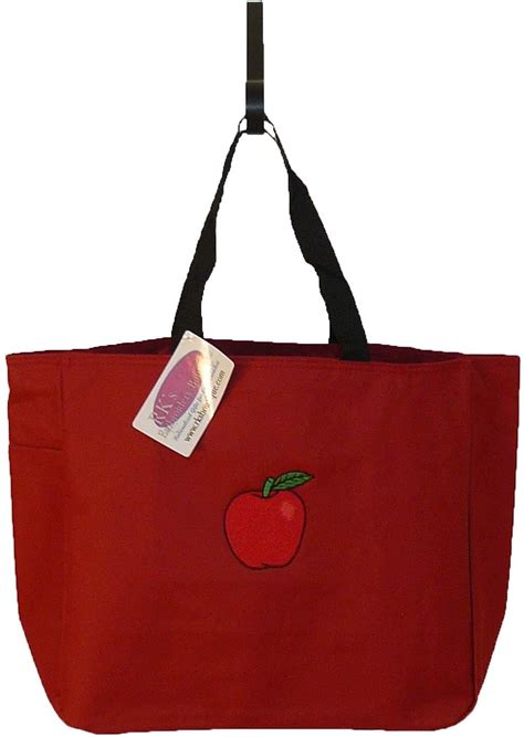 apple market  teacher bag monogram custom embroiderd