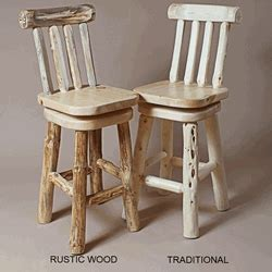 Pine Log Bar Stools by Twist Of Nature Pine Log Bar Stools With Back Swivel