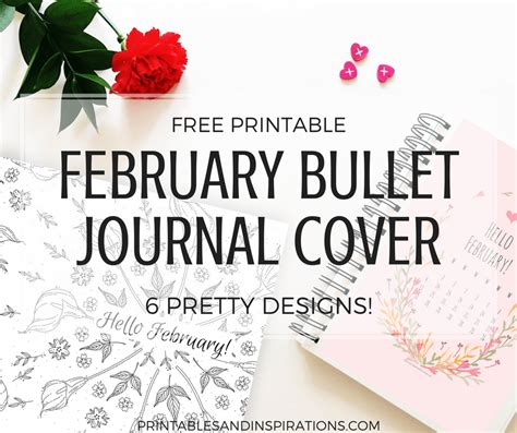 printable february bullet journal covers  themes printables  inspirations
