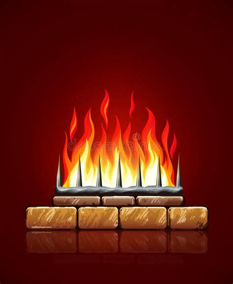 fuoco nel camino fiamme brucianti di fuoco nel vettore camino di pietre