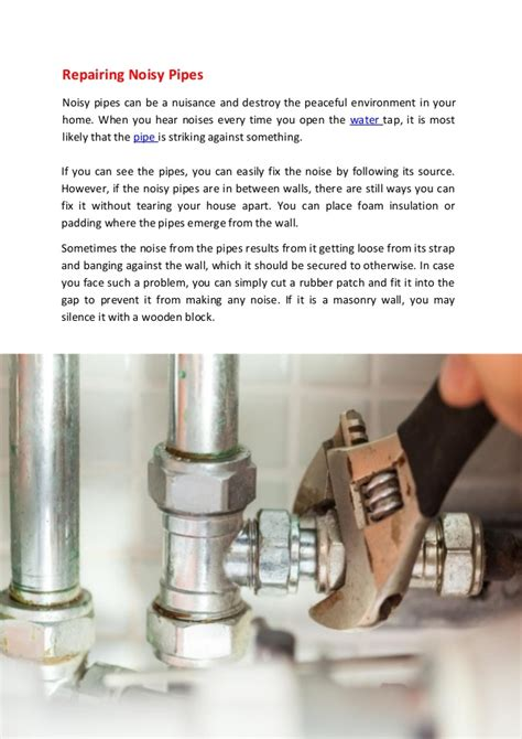 Plumbing Noisy Pipes by Repairing Pipes Noisy Pipes