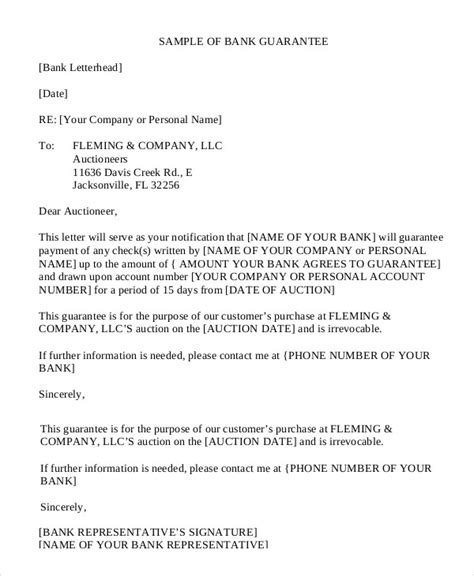 Bank Letter Of Guarantee Exle Letter Of Guarantee 15 Free Sle Exle Format
