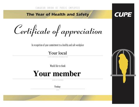 health and safety certificate template celebrate health and safety activists in your local with