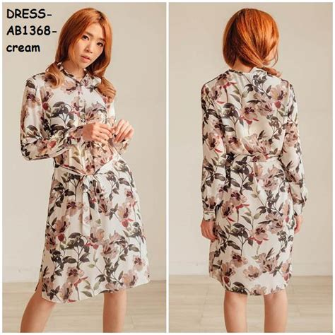 Baju Import Wholesale jual baju tunik dress flower bunga floral katun lengan panjang korea import amelie butik