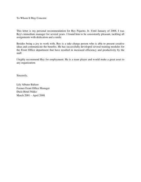 Reference Letter Hotel Receptionist letter of recommendation from ms albano baltzer