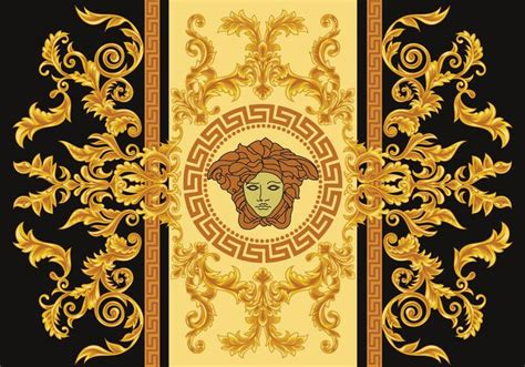 gold versace pattern modern border vector illustration versace style with gold