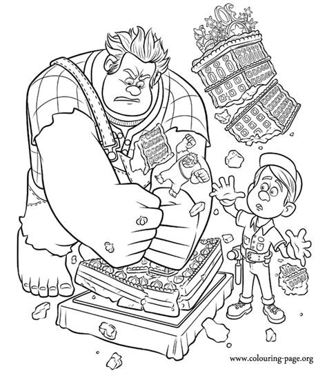 coloring pages wreck it ralph wreck it ralph ralph wrecks the cake coloring page