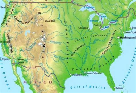 map of usa with rivers and mountains physical map of usa with rivers and mountains pictures to