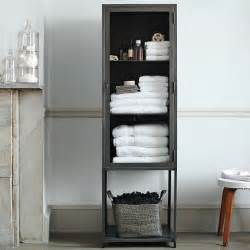 Metal Bathroom Cabinet Industrial Metal Bath Cabinet Modern Bathroom Cabinets And Shelves By West Elm