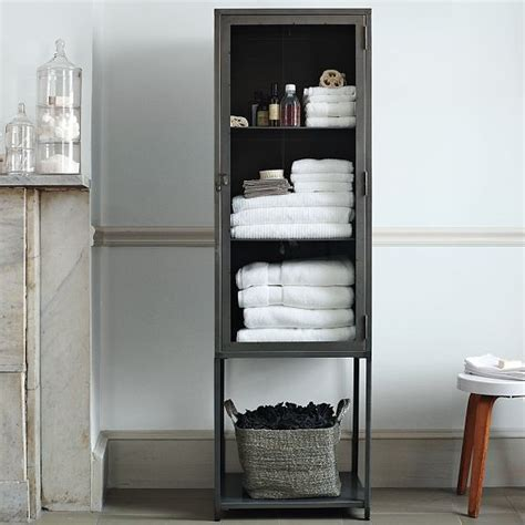 Bathroom Cabinets With Shelves Industrial Metal Bath Cabinet Modern Bathroom Cabinets And Shelves By West Elm