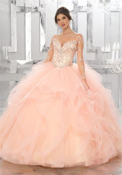 Hq 16092 Shoulder Flounced Top sleeved quinceanera dress by mori vizcaya 89142