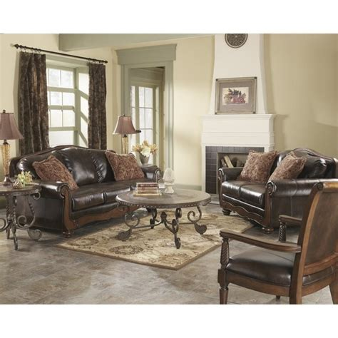 Ashley Showood Accent Chair Ashley Barcelona 3 Piece Faux Leather Sofa Set With Chair