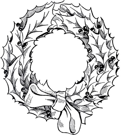 line drawing christmas clip art vintage wreath graphic the graphics