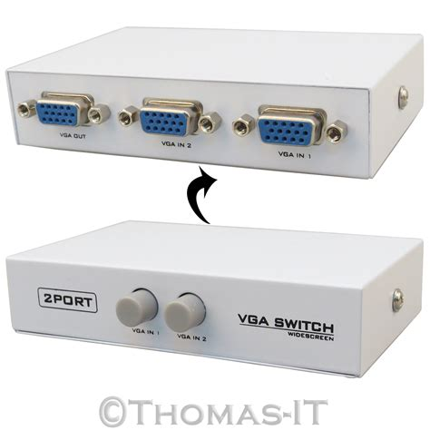 Vga Switch 2 Input 1 Output Vga 2 In 1 Out Port 1 Input 2 Way Output Switcher Box