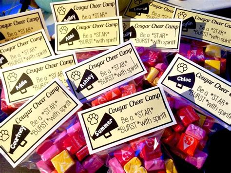 starburst cheer camp treat cheercamp teamgift  cheerleading pinterest cheer