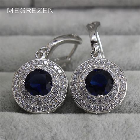 Kalung Hanging Big Diamonds Necklace bohemian vintage drop earrings cubic zirconia jewelry hanging wedding earrings with blue