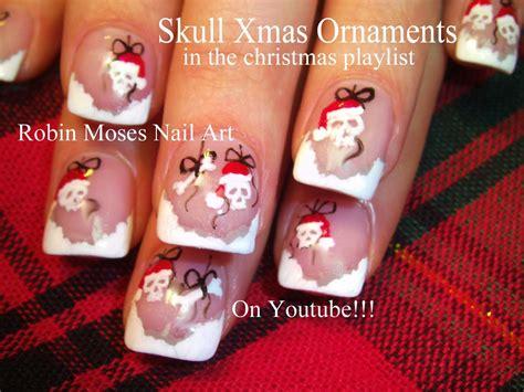 christmas robin nails santa skull ornaments nails nail design tutorial