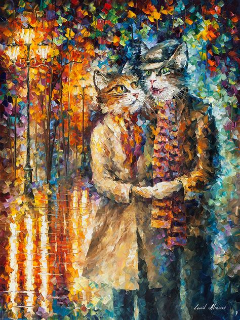best painting cat couple palette knife oil painting on canvas by
