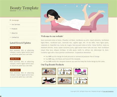 Free Beauty Web Template Templates Perfect Cosmetic Website Templates