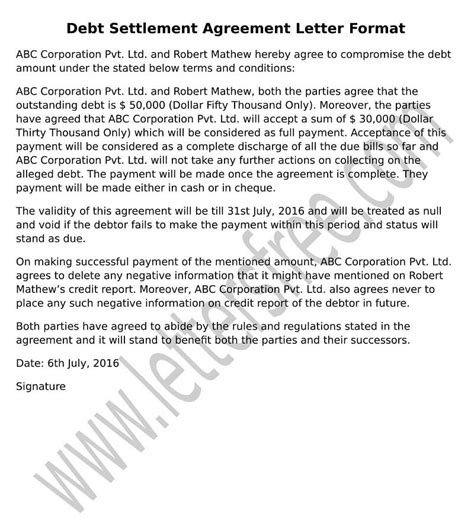 Sle Agreement Letter For Debt Settlement Free Letters Debt Settlement Agreement Letter Template