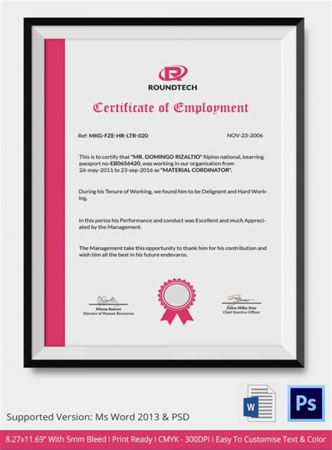 labour certification template employment certificate