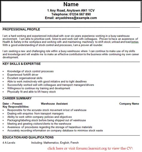 Cv Template For Warehouse Operative Warehouse Operator Cv Exle Forums Learnist Org