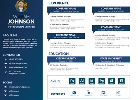 visual resume templates free free powerpoint visual resume template mike