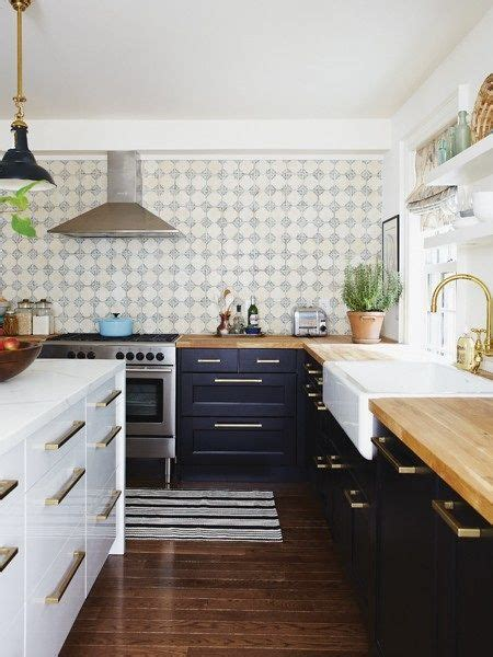 butcher block with navy cabinets gimme shelter pinterest suburbs mama kitchen update one year later white