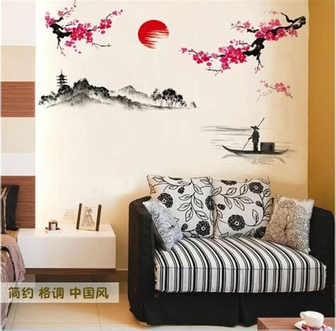 Pink Tree Flowers Jm7074 Stiker Dinding Wall Sticker japanese pink cherry blossom tree branch decor wall sticker decal uk ebay