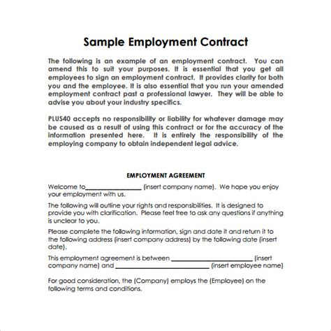 terms of employment contract template sle basic contract template 13 free sle exle