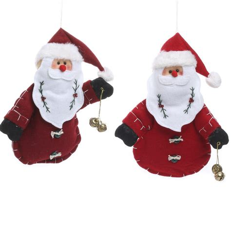 plush santa jingle bell ornament christmas ornaments