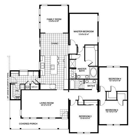 residential floor plan the buckeye floor plan with 4 bedrooms and family room